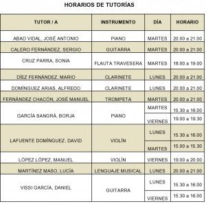 HORARIOS DE TUTORÍAS