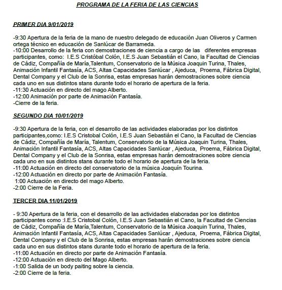 Programa de la Feria de las Ciencias